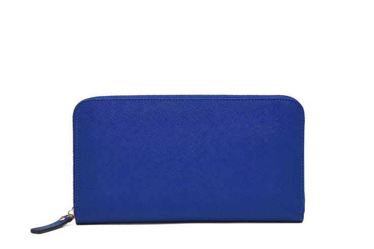 Electric Blue Zipper Wallet