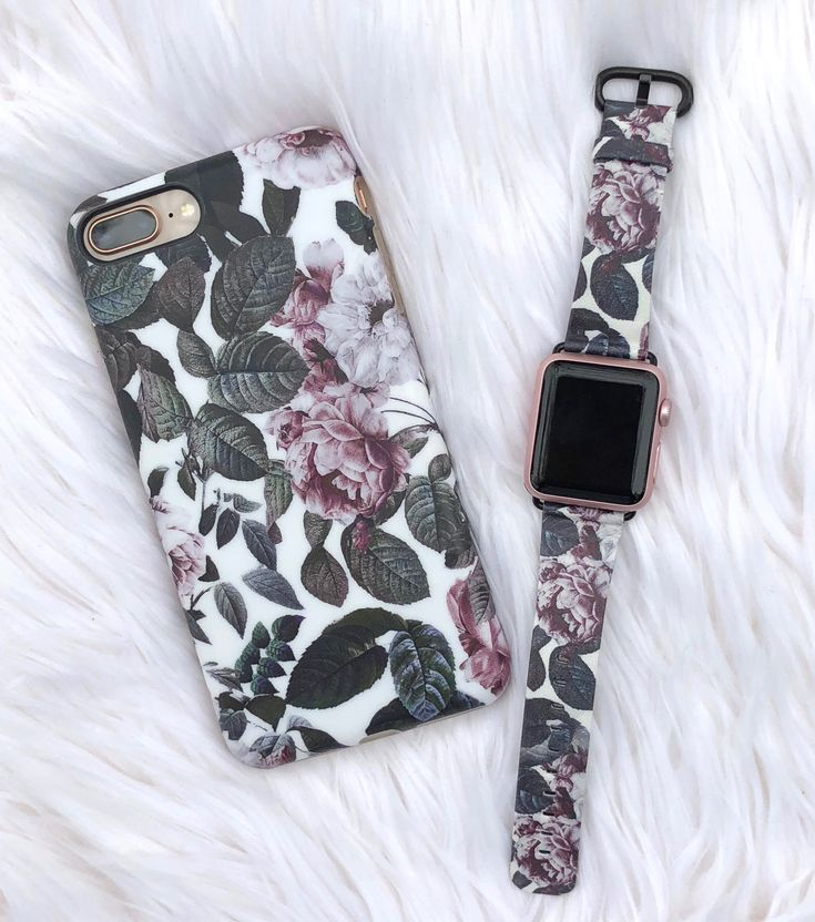 Today's match ⌚️ Shadow Blossom Apple Watch Band and Case for iPhone X, 8 Plus / 7 Plus & iPhone 8/7 from Elemental Cases. Apple Watch band in Vegan Leather and fits original, series 1 / 2 / 3 Apple Watch #shadowblossom #applewatch #iPhoneX #iPhone8Plus #iPhone8 #elementalcases