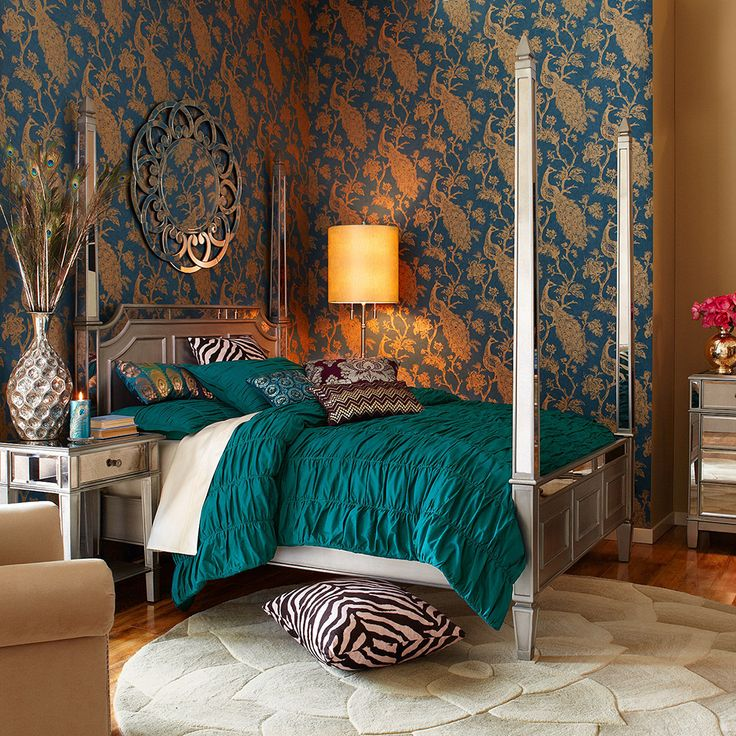 You know you're a star—treat yourself like one with bold peacock colors and a glamorous Hayworth Canopy Bed.