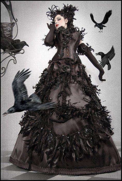 .: Costumes, Gothic Art, The Ravens, Dresses, Bibian Blue, Birds, Crows, Steampunk, Black