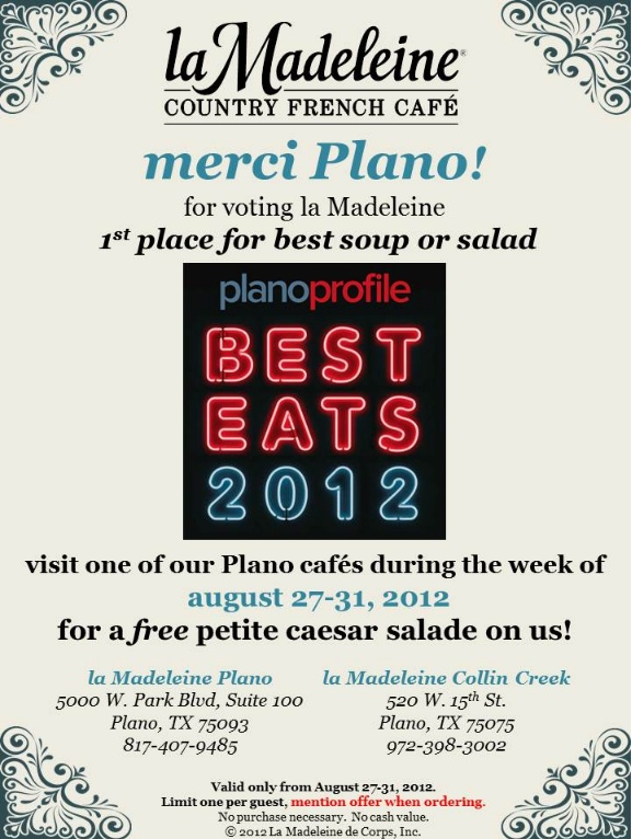 Merci, Plano! Please enjoy a free petite caesar salad on us during the week of August 27-31, 2012.:  Internet Site,  Website, Web Site