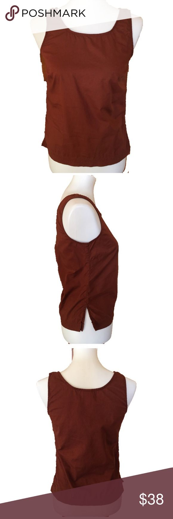 """Patagonia Rust Brown Cotton Sleeveless Cami Size 6 Sleeveless rust brown Cami by Patagonia. 100% organic cotton. Lightweight, split hem with nice stitching.  Size 6, measurements are flat and approximate: Underarm to underarm 16 1/2"""" Length 22"""" Patagonia Tops Camisoles"""