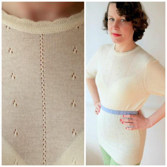 Excellent Long Cream Pin up Sweater Mad Men by fridalarsensvintage, £32.00