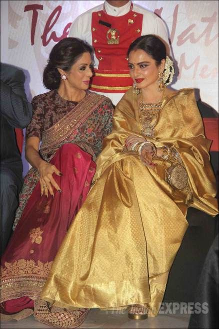Rekha shines in golden as she receives an award; Sridevi, Ranveer in attendance