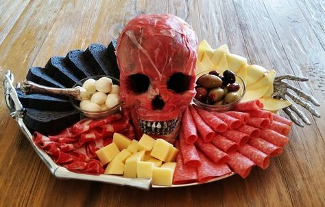 A skull, wrapped in slices of ham to look like flesh