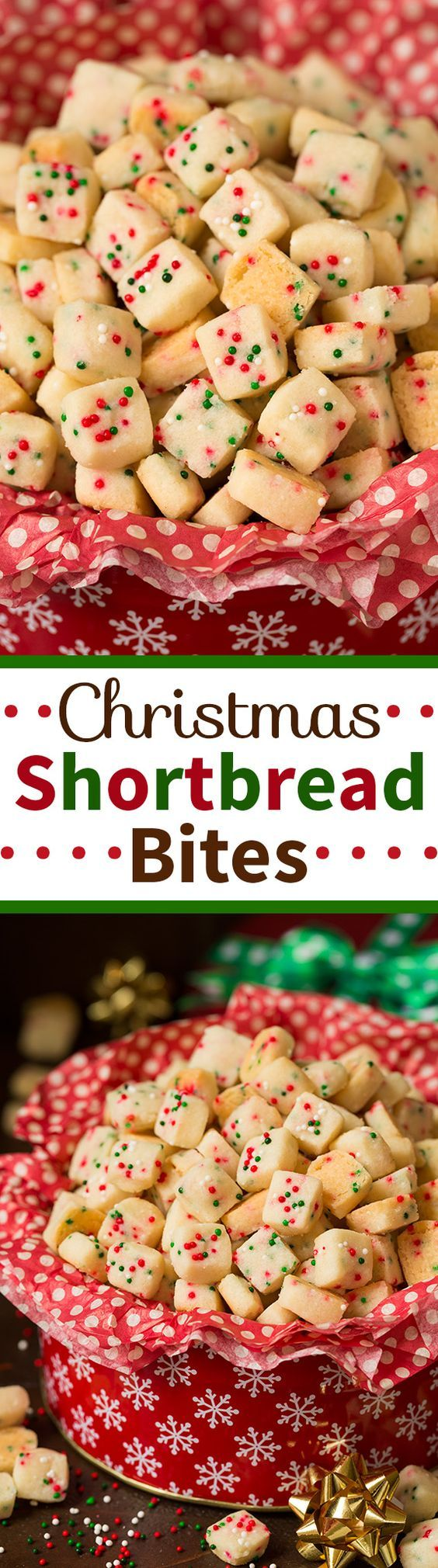 Christmas Shortbread Bites - these are the most pop-able fun to eat cookies out there! They were actually really easy to make and they taste AMAZING! A perfect Christmas treat, but you could also use a rainbow sprinkle blend for birthdays.: