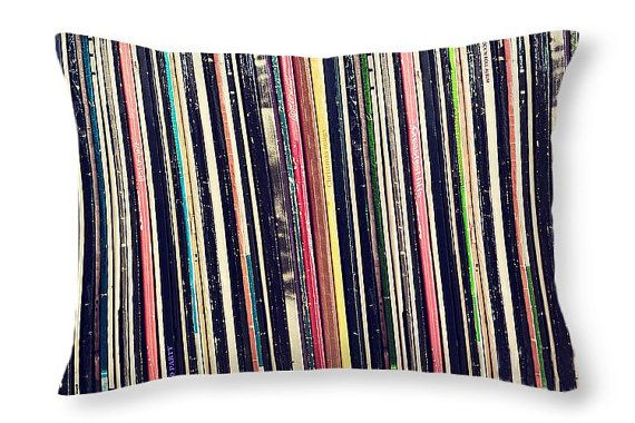 Vinyl records pillow cover, Music pillow, Vinyl collection, Music home decor, Gift for him, Gift for music lover, Vinyl record cushion case