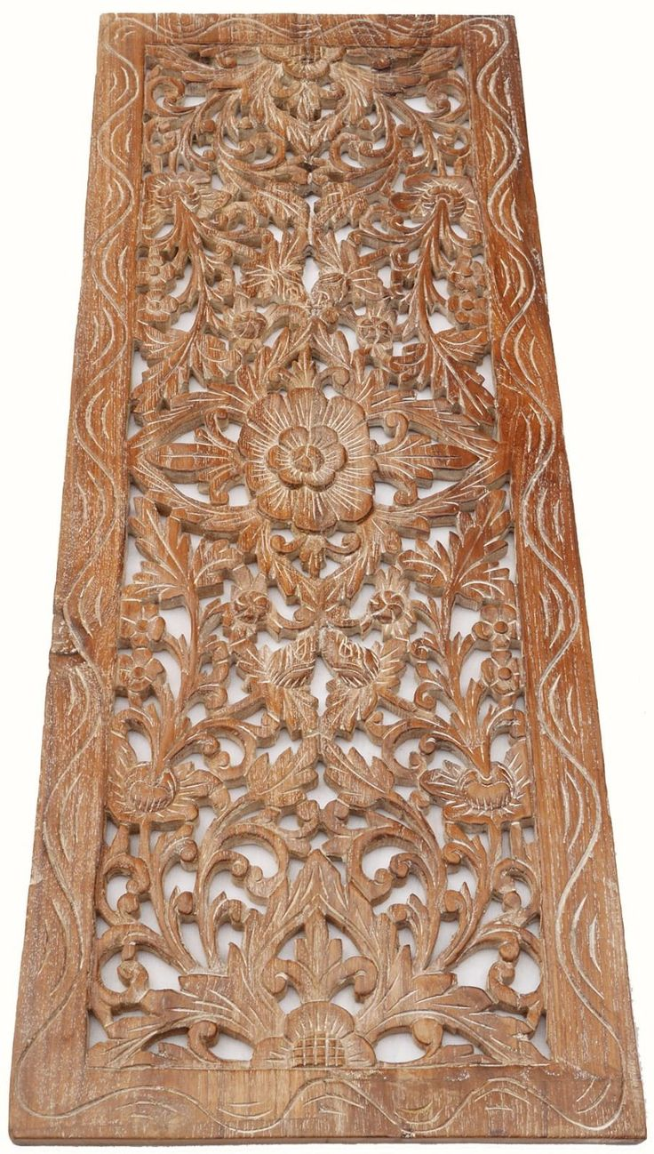 "Asian Carved Wood Wall Decor Panel. Floral Wood Wall Art. White Wash 35.5""x13.5"" 