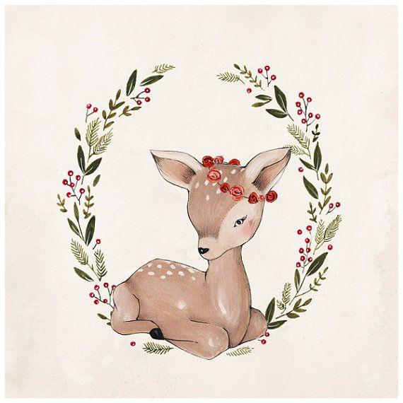 Ciervos de la Navidad 10 X 10 por KelliMurrayArt en Etsy: