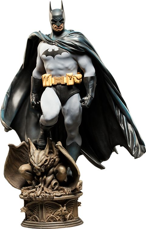 "Batman Premium Format™ Figure - His head can be switched out to one with shorter ears, eyes open, and a more grim expression. This is an amazing collection!  They are 23"" tall. ($400)"