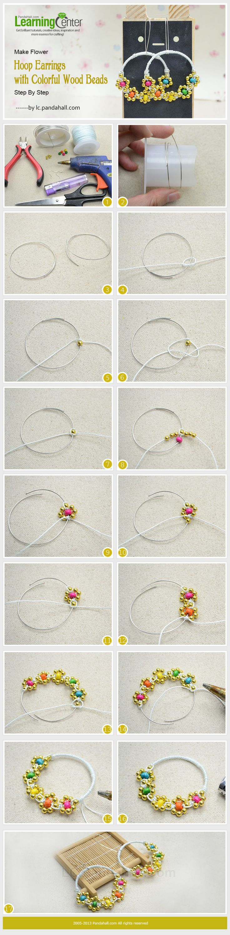 Make Flower Hoop Earrings with Colorful Wood Beads Step By Step