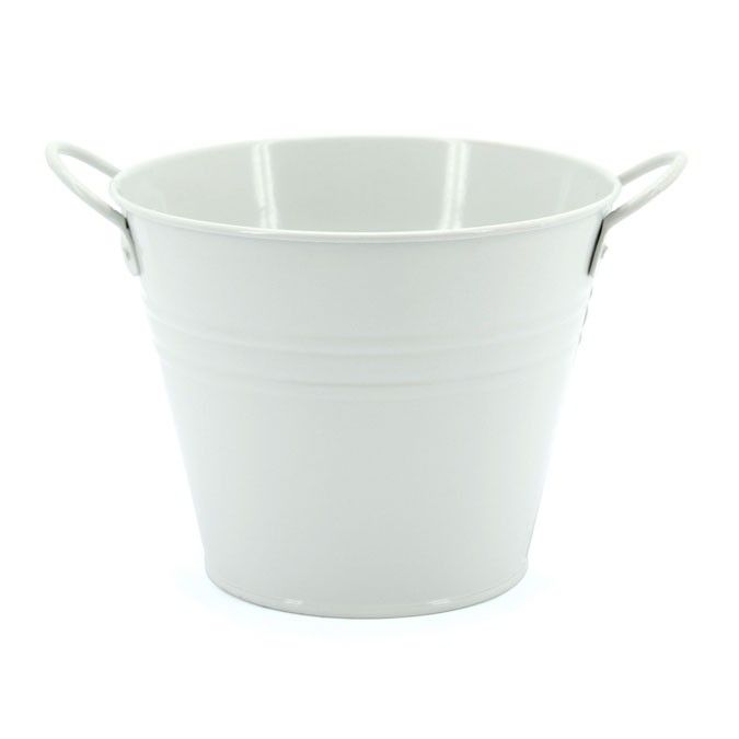 Medium Round Tin With Ear Handles 15tdx10bdx12Hcm | Oceans Floral - Tinware is very versatile, whether you want troughs for hampers or corporate gifts, or buckets and tall tins for flowers; our v-shape tins with ear handles are great for displaying flowers plus our plastic pots and vases pop inside nicely for a water tight option. Our smaller tins work great for gifts, posies, wedding favours, children's parties and baby showers.