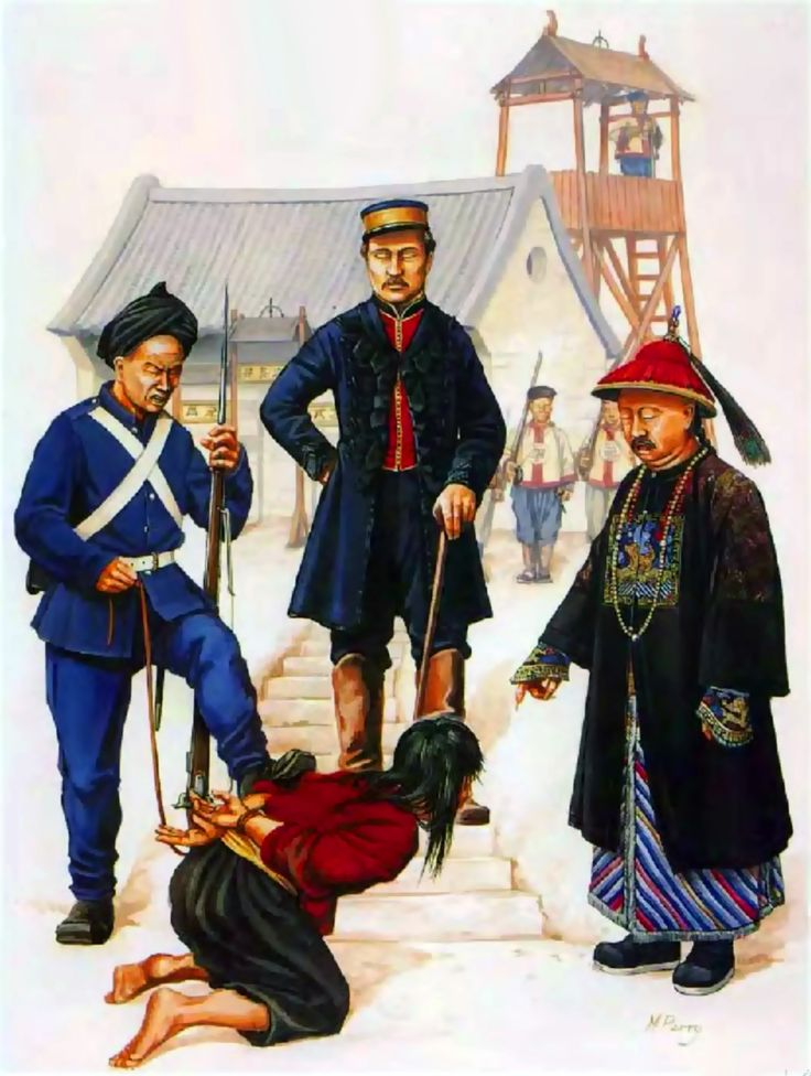 "General ""Chinese"" Gordon with a private of Kingsley's Force interrogating a Taiping rebel with a Manchu Imperial mandarin, Taiping Rebellion, China"