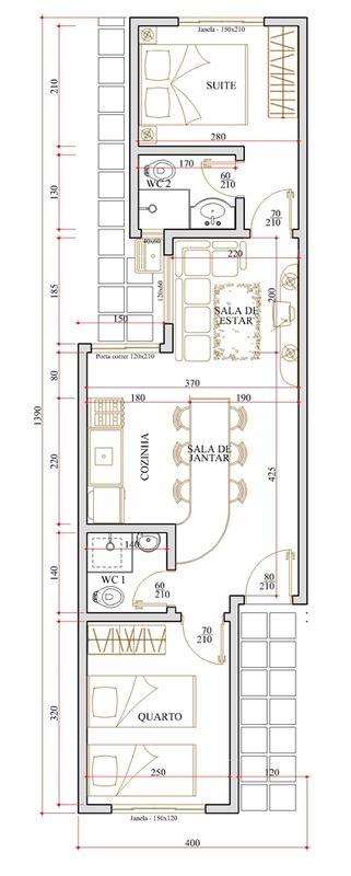 Planta de casa com 5 metros de frente plantas de casas for Planos de casas economicas