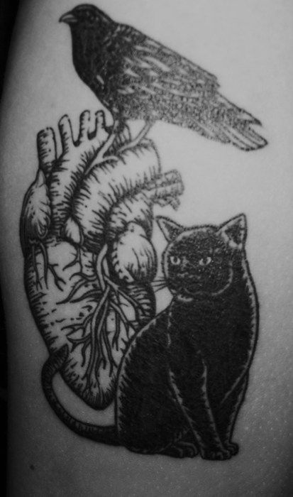 "Edgar Allan Poe-themed tat, referencing ""The Black Cat,"" ""The Raven,"" and ""The Telltale Heart."" Found at The Word Made Flesh."
