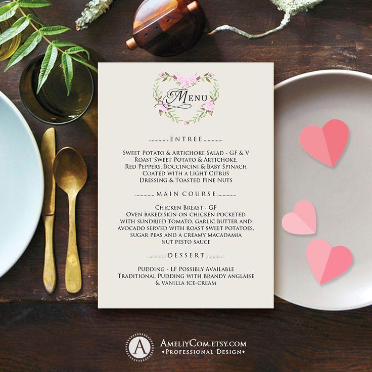 Elegant Wedding Menu Valentine Day Printable Menu Template Floral Heart Digital Menu Birthday Menu https://www.etsy.com/listing/574334594/elegant-wedding-menu-valentine-day?ref=shop_home_active_52