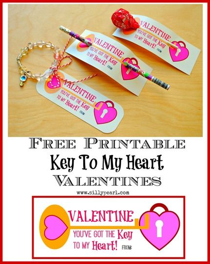 """""""Key To My Heart"""" Free Printable Valentines (for candy or non-candy Valentines) -- www.sillypearl.com"""