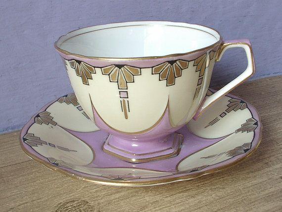 RARE antique art deco tea cup set, vintage 1930's Aynsley pink tea cup and saucer, pink yellow gold English tea set, bone china cup.