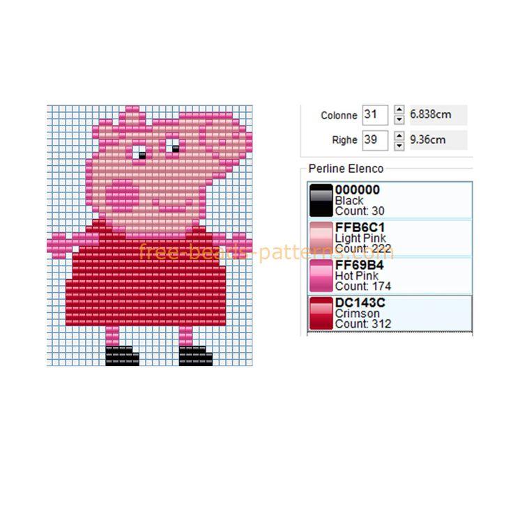 Peppa Pig free perler beads Hama Beads pattern baby toy ideal