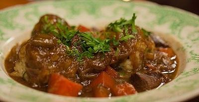 Scandinavian Beef Hunter's Stew with Bacon & Onion Dumplings