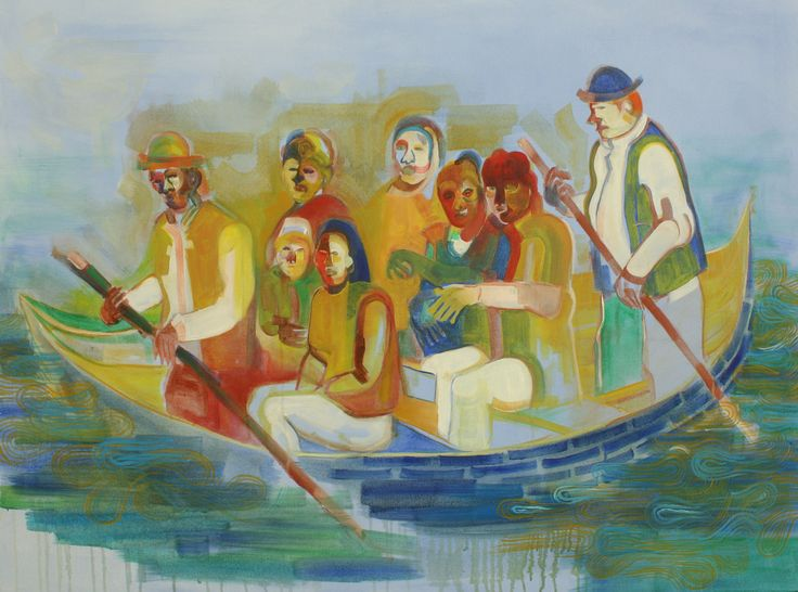 'Boat', oil paint on canvas 100cm x 130,5cm by indira Hamaker