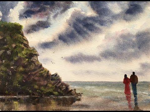 Рисуем Тучи, Скала.Солнечные лучи №2. Dark clouds.Sky  Rays. Watercolour