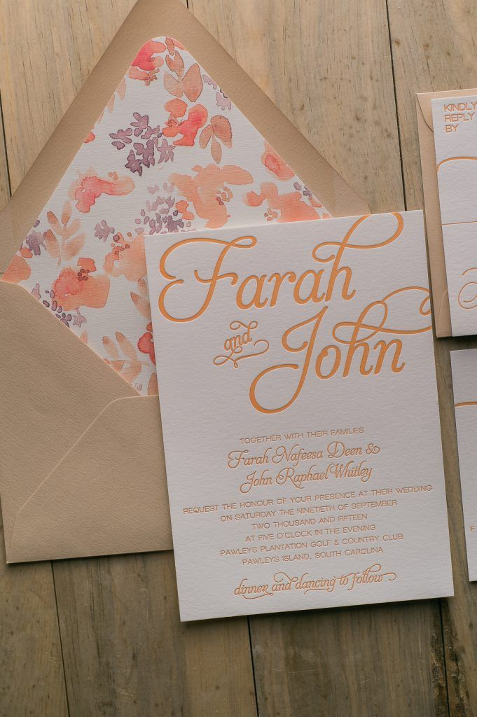 types of printing for wedding invitations%0A Fabulous Orange and Kraft Letterpress Wedding Invitation with a Watercolor  Floral Envelope Liner  NICOLE Floral Rustic Collection by Just Invite Me