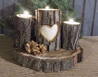 Personalized Log Candle Holder -  Rustic Decor - Primitive Decor - Rustic Valentines Day Gift - Personalized Valentines Gift