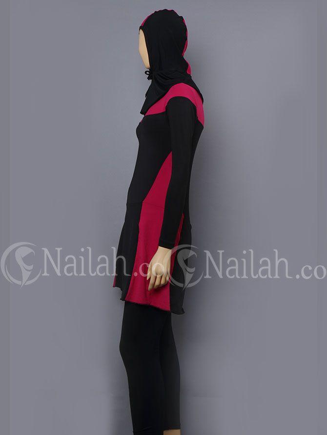 Baju Renang Muslimah Elsa Polos (Pink Tua) Harga Rp 189.000,- yang terbuat dari bahan Dove yang dikombinasikan dengan warna pink pada bagian dada dan pinggang. Tersedia Ukuran : M, L, XL, XXL