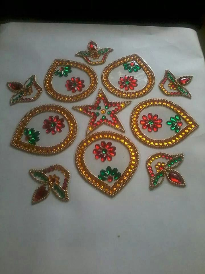 96 best images about diwali deco on pinterest acrylics for Aarti thali decoration with kundan