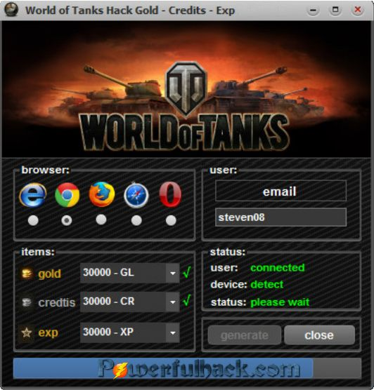 World Of Tanks Hack Tool Gold Generator 2017 No Survey Free Download http://www.powerfulhack.com/world-of-tanks-hack-goldcreditxp-generator/