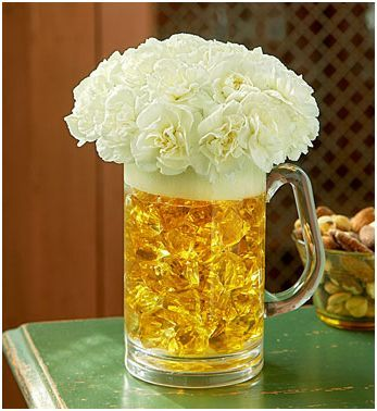 For the bar!: White Flowers, Beer Mugs, Father Day, Wedding Ideas, Flowers Arrangements, Parties Ideas, Floral Arrangements, Beer Centerpieces, Center Pieces