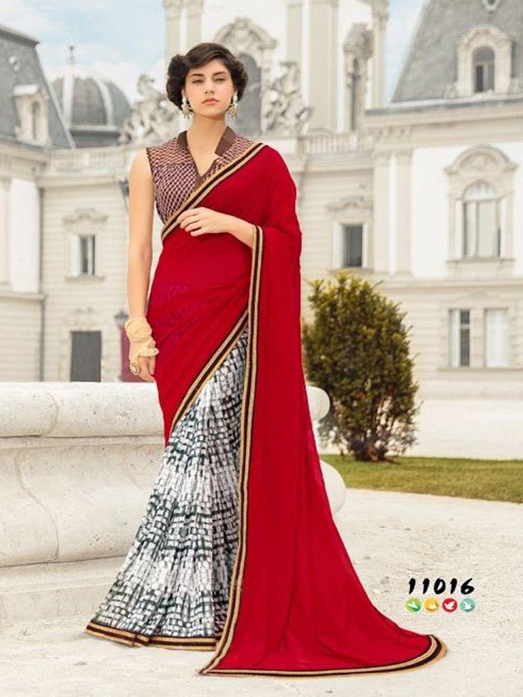 Enticing Red Georgette Designer Saree