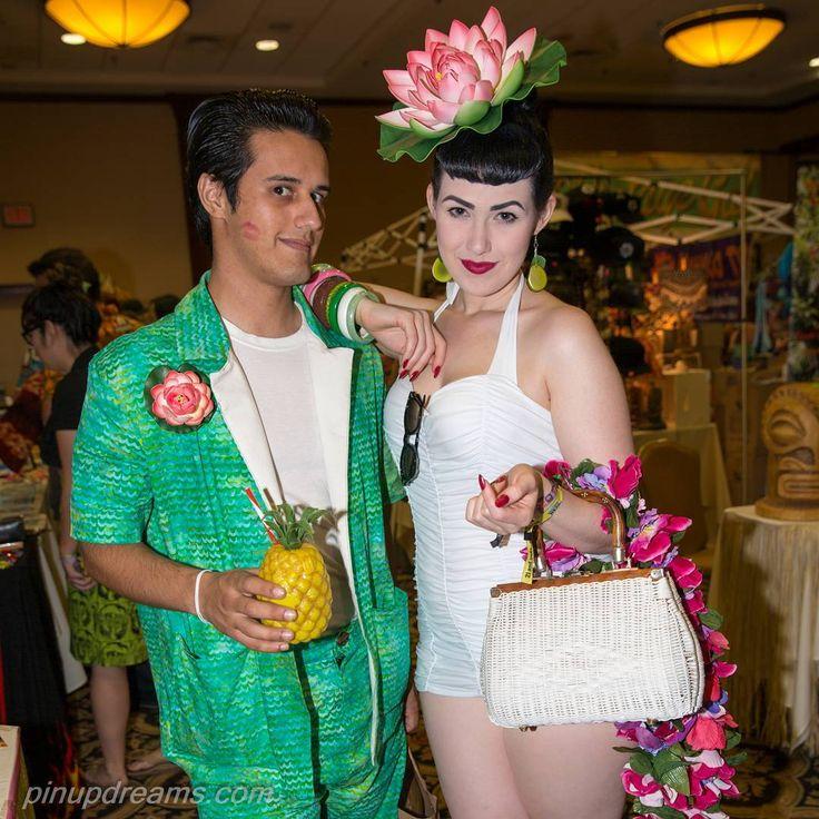 adore this photo of @mynameis_notbruce and @clarabecka at #tikioasis2016 You two make a great pair! #tikio #tikioasis #paleskin #flower #pinupstyle #rockabilly #cabana #tiki #vintage #redlips #flowerhat
