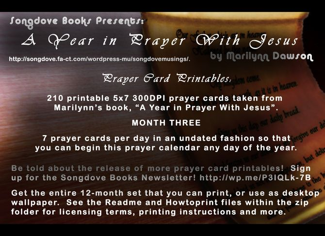 """Month Three of the 12 decks of #printable #prayer #cards based on """"A #Year in #Prayer With #Jesus"""" is now available over at #gumroad.com!  This deck has 31 days in it.  Remember these are undated, so you can begin your year in prayer on literally any day of the year.  Each printable deck of cards contains 300 DPI 5x7 jpg images.  Printing and assembly instructions are also included in the purchased zip file.  We are now one quarter of the way through the book and daily sharing of the…"""