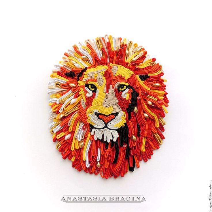 """Купить Сутажная брошь-картина """"Лев"""" в стиле поп-арт - рыжий, брошь, большая брошь"""