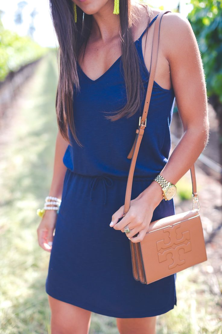 navy cotton dress - Napa Styles