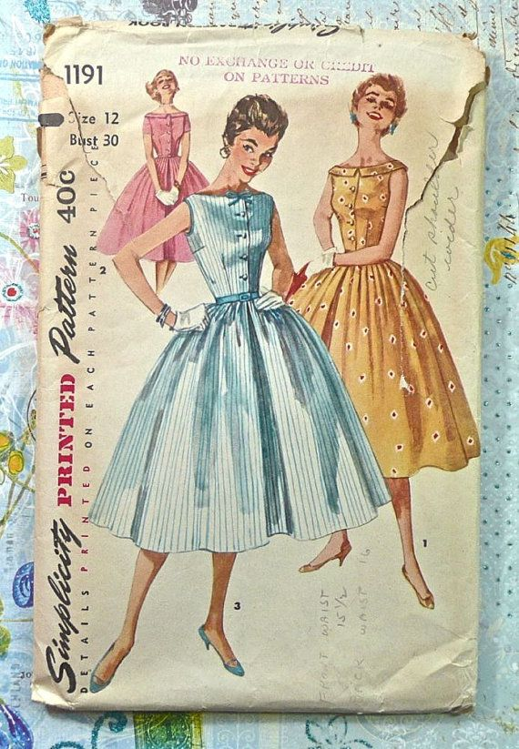 Simplicity 1191  Vintage 1950s Womens Dress Pattern by Fragolina, $8.00