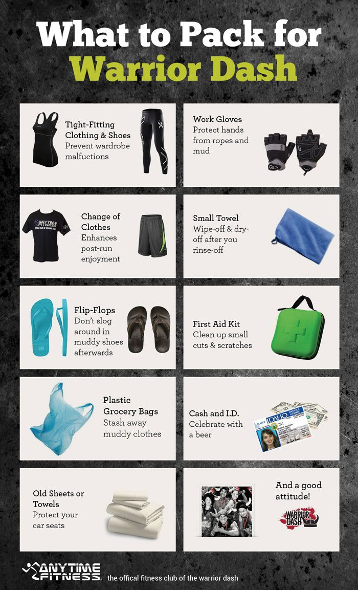 Wondering what to bring to your warrior dash? Just remember these essentials when packing for race day.
