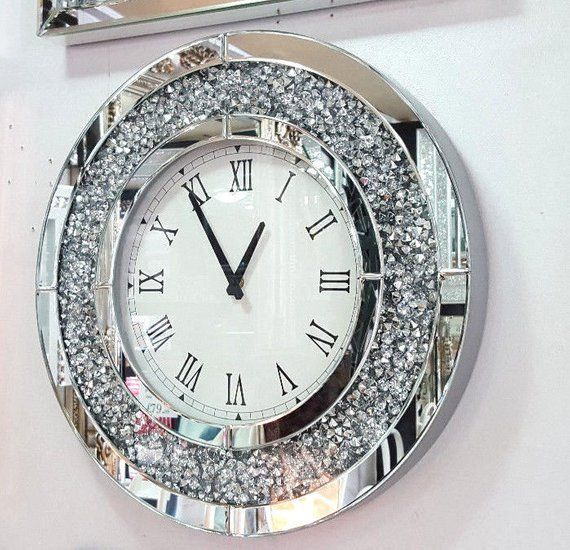 5415e8fa7ac Modern Crushed Diamond Mirrored Round Wall Clock Decorated with Loose  Diamonds Crushed Affect and Silver Sides