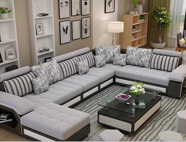 Wholesale Factory Wholesale Fabric U Shaped Sectional Sofa Modern European Style Washable Living Room Sofa Design Modern Sofa Living Room Living Room Sofa Set
