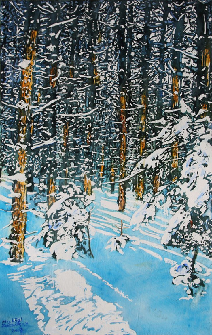 """colours of sunlit silence after the snowfall 2 19"""" x 12"""" micheal zarowsky / Mixed media (watercolour / acrylic painted directly on gessoed birch panel)  Available $450.00"""