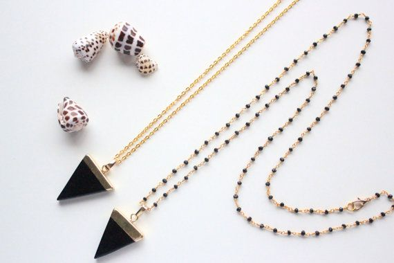 """Black Onyx Necklace, 28"""" Black Spinel Rosary Chain"""