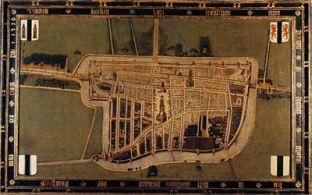 Stadsplattegrond na de stadsbrand van 1536.
