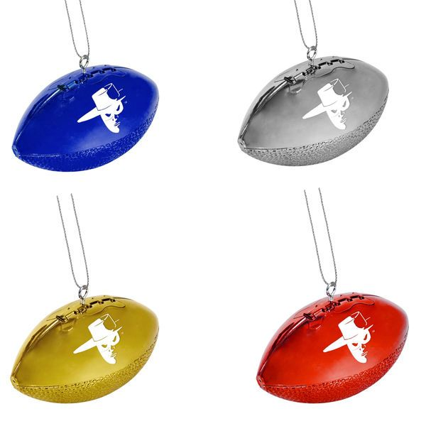 Texas Tech Red Raiders 4-Pack Shiny Football Ornaments - Royal Blue/Gold/Silver - $6.99