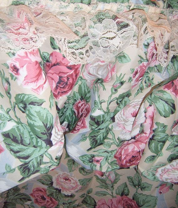 Vintage Shower Curtain, Rose Shower Curtain, Shabby Chic, Roses