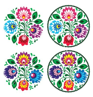 Ethnic round polish embroidery with flowers vector by RedKoala on VectorStock®
