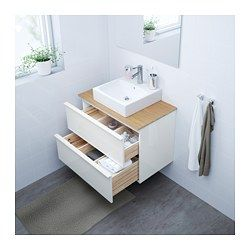 """IKEA - GODMORGON/TOLKEN / TÖRNVIKEN, Vanity, countertop and 17 3/4"""" sink, bamboo, white, , 10-year Limited Warranty. Read about the terms in the Limited Warranty brochure.You can place the sink where you prefer – left, right or in the middle.Unique water trap design gives room for a full sized drawer.Drawers made of solid wood, with bottom in scratch-resistant melamine.Smooth-running and soft-closing drawers with pull-out stop.You can easily customize the size of the d..."""