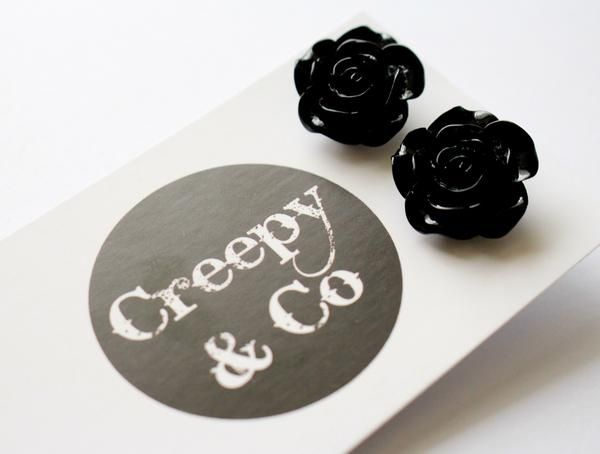 Black Rose Stud Earrings.  So cute to wear with any pinup outfit.  I love to wear mine with a sweet vintage pinup updo hairstyle and a matching headband!
