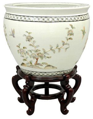 Amazon.com - Oriental Furniture Japanese Chinese Asian Oriental Interior Design and Decor 16-Inch Ming Porcelain Jardinière Fishbowl Planter Pottery with Gold Leaf - Decorative Bowls